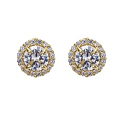Simply Silver - Clara gold plated sterling silver cubic zirconia stud earring