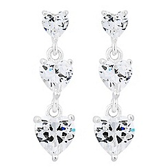 Simply Silver - Sterling silver cubic zirconia graduated heart drop earring