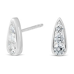 Simply Silver - Sterling silver cubic zirconia encased teardrop earring