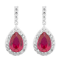 Simply Silver - Sterling silver red cubic zirconia peardrop earring