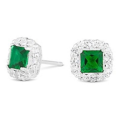 Simply Silver - Sterling silver green cubic zirconia square stud earring