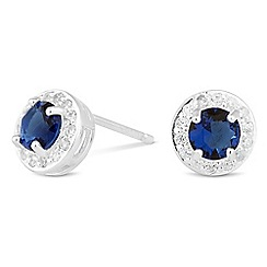 Simply Silver - Sterling silver blue cubic zirconia round stud earring