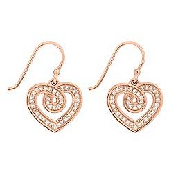 Simply Silver - Sterling silver cubic zirconia swirl heart earring