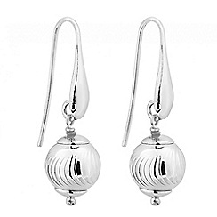 Simply Silver - Sterling silver diamond cut ball drop earring