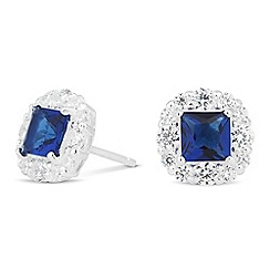 Simply Silver - Sterling silver blue cubic zirconia square stud earring