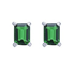 Simply Silver - Sterling silver green cubic zirconia stud earring