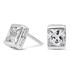 Simply Silver - Sterling silver cubic zirconia square bezel stud earring