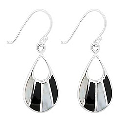 Simply Silver - Sterling silver mother of pearl and onyx teardrop earring