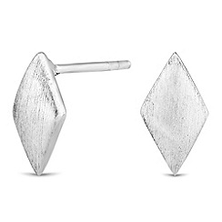 Simply Silver - Sterling silver textured kite stud earring