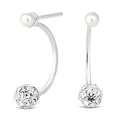 Simply Silver - Sterling silver crystal ball and pearl lobe earring