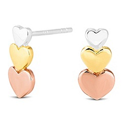 Simply Silver - Sterling silver triple tone graduated heart stud earring