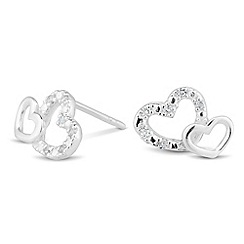 Simply Silver - Sterling silver crystal double heart stud earring