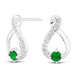 Simply Silver - Sterling silver green cubic zirconia loop earring