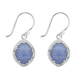 Simply Silver - Sterling silver blue lace agate and cubic zirconia drop earring