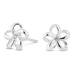 Simply Silver - Sterling silver crystal encased flower stud earring