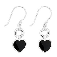 Simply Silver - Sterling silver onyx heart drop earring
