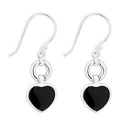 Simply Silver - Sterling silver onyx heart drop earring