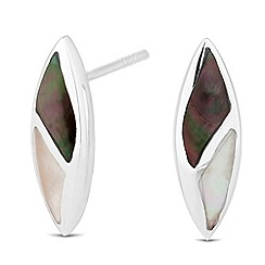 Simply Silver - Sterling silver mother of pearl encased leaf stud earring