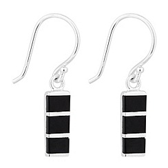 Simply Silver - Sterling silver black onyx bar drop earring