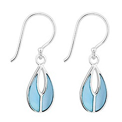 Simply Silver - Sterling silver blue mother of pearl teardrop earring