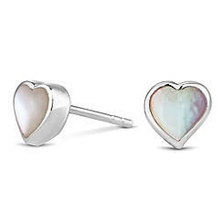 Simply Silver - Sterling silver mother of pearl heart stud earring