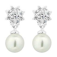 Simply Silver - Sterling silver pearl and cubic zirconia flower drop earring