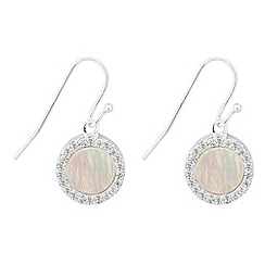 Simply Silver - Sterling silver mother of pearl surround drop earring