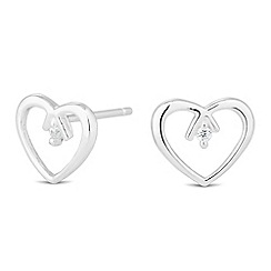 Simply Silver - Sterling silver polished open heart stud earring