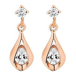 Simply Silver - Rose gold plated sterling silver teardrop earring