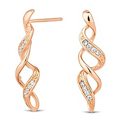 Simply Silver - Rose gold plated sterling silver twist stud earring