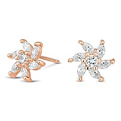 Simply Silver - Rose gold plated sterling silver floral stud earring