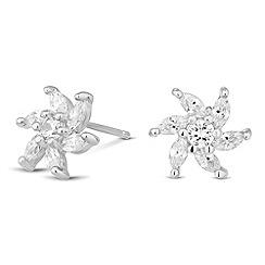 Simply Silver - Sterling silver cubic zirconia flower burst earring