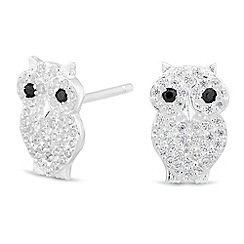 Simply Silver - Sterling silver cubic zirconia owl stud earring