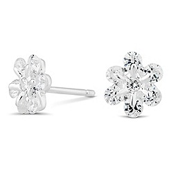 Simply Silver - Sterling silver cubic zirconia flower stud earring