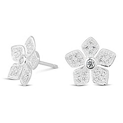 Simply Silver - Sterling silver cubic zirconia embellished flower stud earring