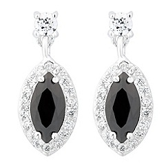 Simply Silver - Sterling silver jet cubic zirconia navette drop earring