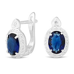 Simply Silver - Sterling silver oval blue cubic zirconia heart top earring