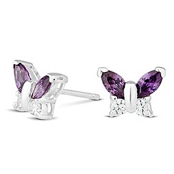 Simply Silver - Sterling silver purple cubic zirconia butterfly stud earring