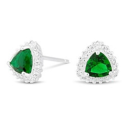 Simply Silver - Sterling silver green cubic zirconia triangular stud earring