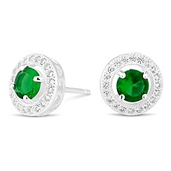 Simply Silver - Sterling silver clara green cubic zirconia stud earring
