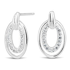 Simply Silver - Sterling silver crystal encased oval stud earring