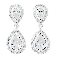 Simply Silver - Sterling silver cubic zirconia double teardrop earring