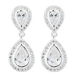 Simply Silver - Sterling silver cubic zirconia double teardrop earring