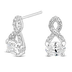 Simply Silver - Sterling silver oval cubic zirconia twist top earring