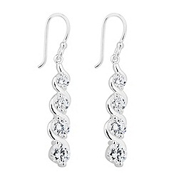 Simply Silver - Sterling silver cubic zirconia graduated swirl drop earring