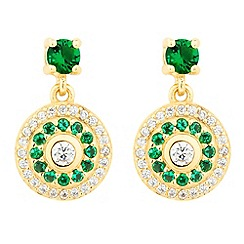 Simply Silver - Gold plated sterling silver green disc stud earring