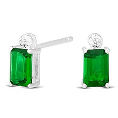 Simply Silver - Sterling silver green cubic zirconia baguette stud earring