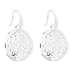 Simply Silver - Sterling silver floral and butterfly filigree disc earring