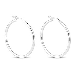 Simply Silver - Sterling silver diamond cut textured hoop earring