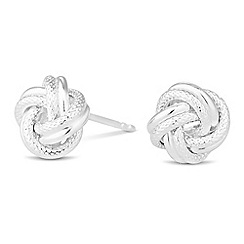 Simply Silver - Sterling silver polished and textured knot stud earring